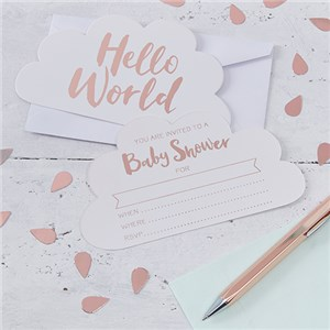 Itty Bitty Baby Shower Hello World Invites - Party Invitation Cards