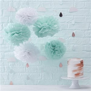 Itty Bitty Baby Shower Hello World Pom Pom Decorations