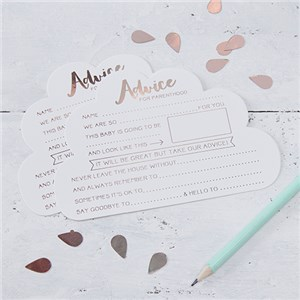 Itty Bitty Baby Shower Hello World Rose Gold Foil Advice Cards