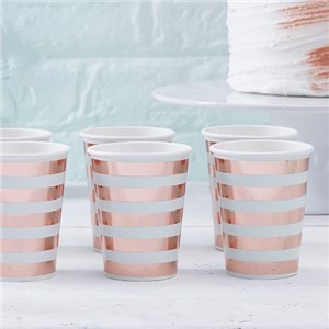 Itty Bitty Baby Shower Hello World Rose Gold Foil Cups - 255ml Paper Party Cups