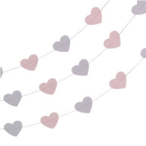 Itty Bitty Party Princess Perfection Silver Glitter Heart Garland - 5m