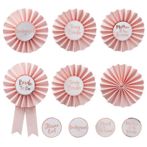 Itty Bitty Team Bride Pink & Rose Gold Hen Party Badges