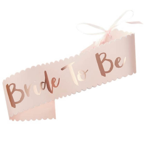 Itty Bitty Team Bride Rose Gold Foiled 'Bride to Be' Paper Sash