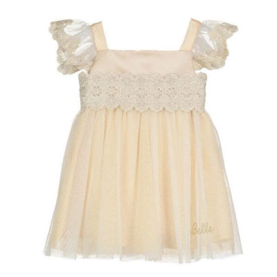 Disney Boutique Collection Beauty and the Beast Belle Baby Gold Lace Smock Dress