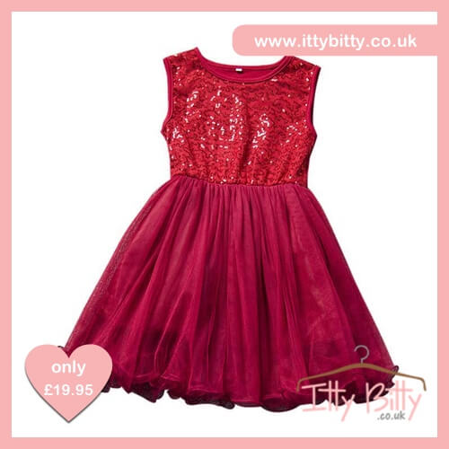 Itty Bitty Red Summer Sequin Princess Party Tutu Dress