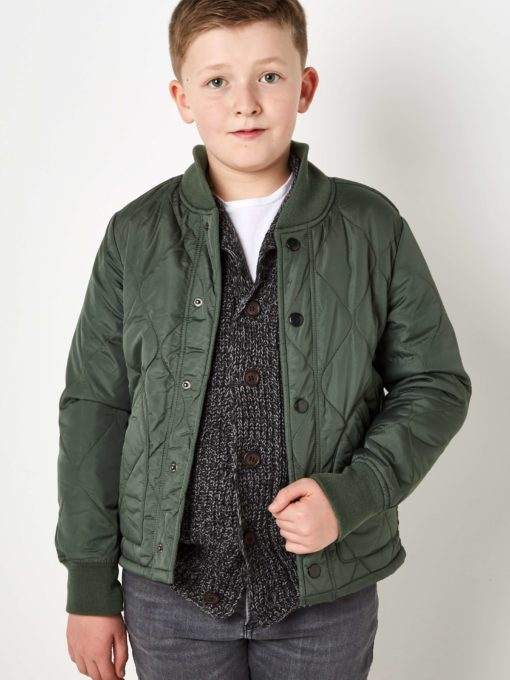 Boys Boutique Army Green Quilted Jacket