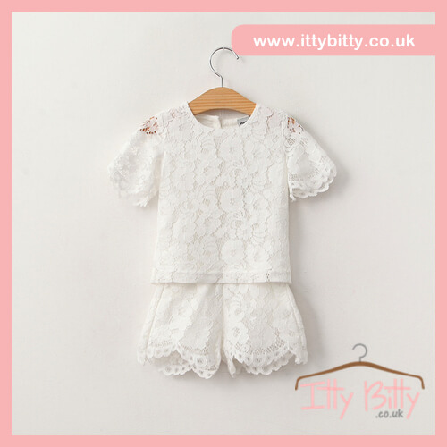 Itty Bitty Willow Floral White Lace Two-Piece Set