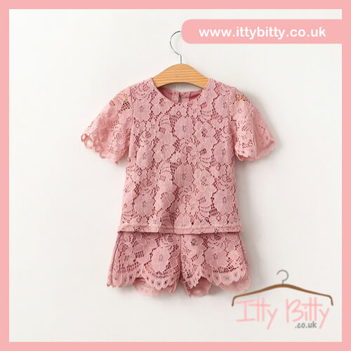 Itty Bitty Willow Floral Pink Lace Two-Piece Set