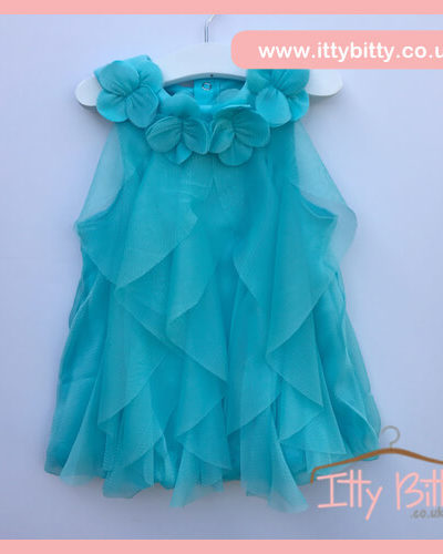 Itty Bitty 2017 Spring Aqua Collar Chiffon Flower Dress