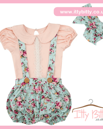 Itty Bitty Vintage Floral Dungaree Set