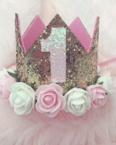 Itty Bitty 1st Birthday Gold Flower Adorned Crown