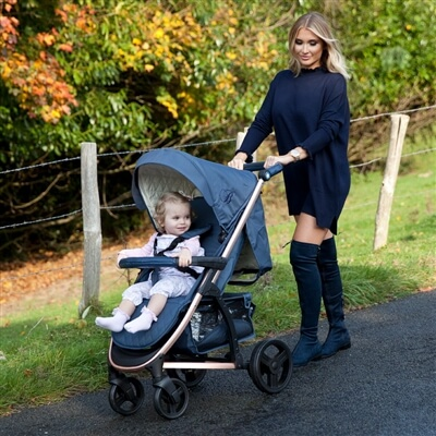 My Babiie MB200 Rose Gold and Navy Stroller Pushchair Buggy