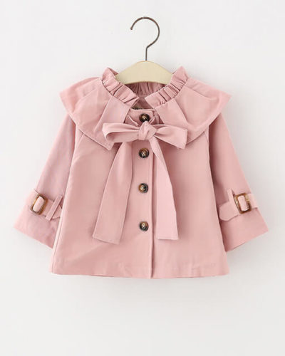 Itty Bitty Pink Bow Autumn Trench Coat