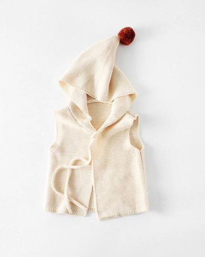 Itty Bitty Cream Knitted Pom Pom Gilet