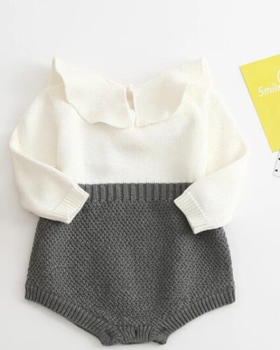 Itty Bitty Grey Ruffle Collar Romper