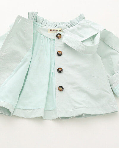 Itty Bitty Mint Bow Autumn Trench Coat