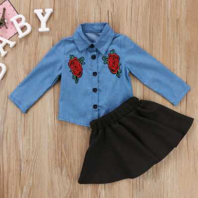 Itty Bitty Embroidery Denim Shirt and Skirt Tutu Dress Set
