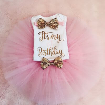 Itty Bitty 1st Birthday Baby Pink Tutu Set