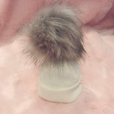 Itty Bitty Cream & Silver Winter Pom Pom Beanie Hat