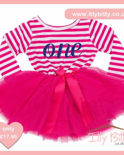Itty Bitty Dark Pink & White First Birthday Tutu Dress