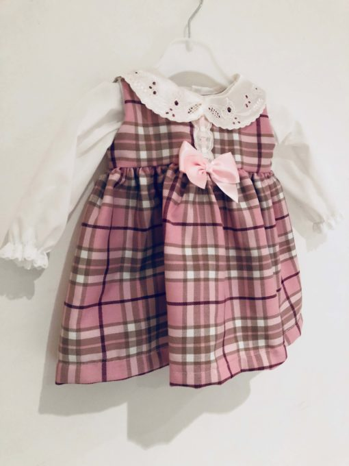 Itty Bitty Pink Winter Check Blouse and Pinafore Dress Set