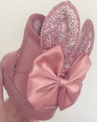 Itty Bitty Pink Bunny Bow Snuggle Boots