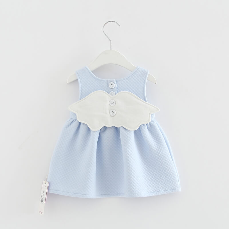 39cc527a8 Itty Bitty Baby Blue Angel Wings Dress – Baby Boutique Clothing
