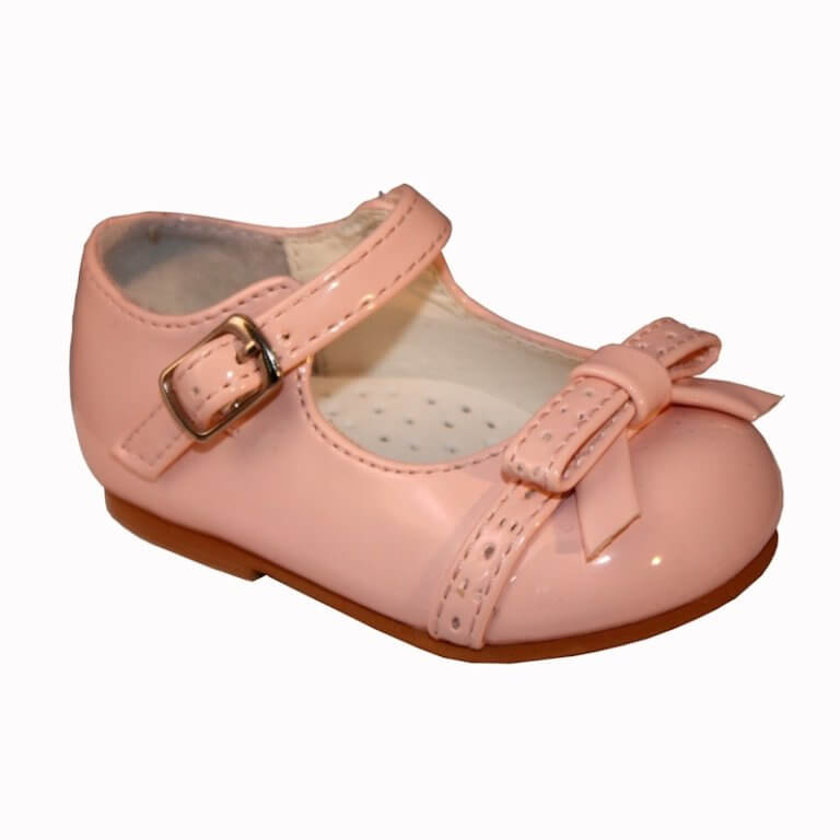Itty Bitty Buckle Shoe with Punched Bow Detail
