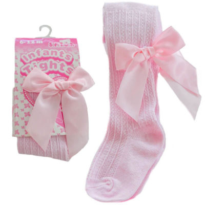 Itty Bitty Pink Ribbed Tights with Pink Bow