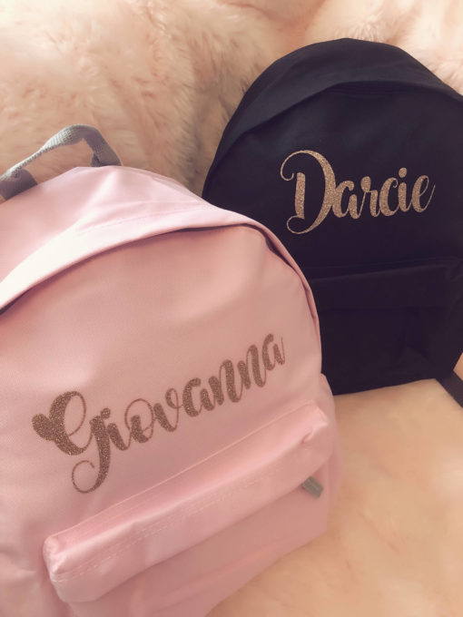 Itty Bitty Pink Personalised Rose Gold Kids Backpacks & Rucksacks