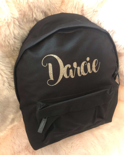 Itty Bitty Black Personalised Rose Gold Kids Backpacks & Rucksacks