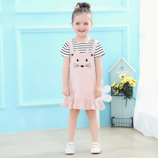 Itty Bitty Striped T-Shirt & Cat Dungaree Skirt Set