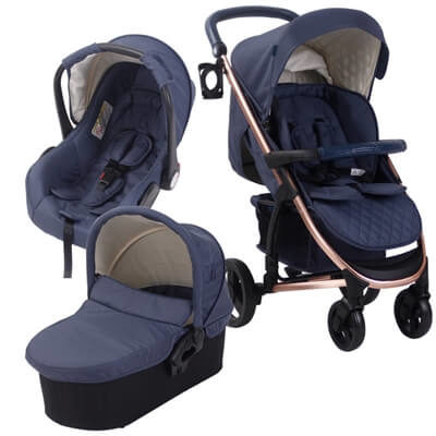 My Babiie Billie Faiers MB200+ Rose Gold and Navy Travel System