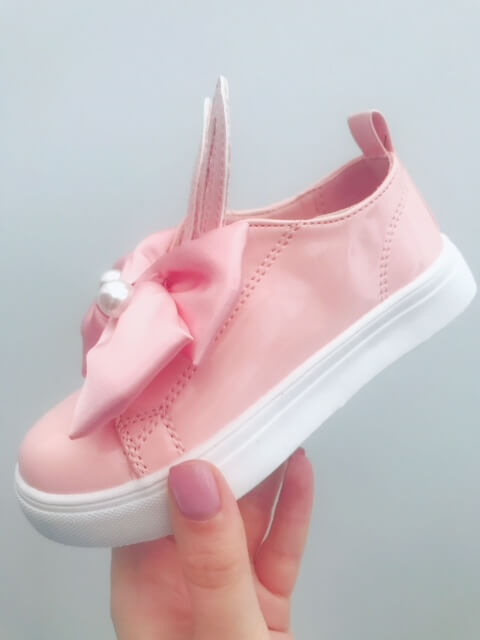 Itty Bitty Pink Bunny Bow Patent Trainers
