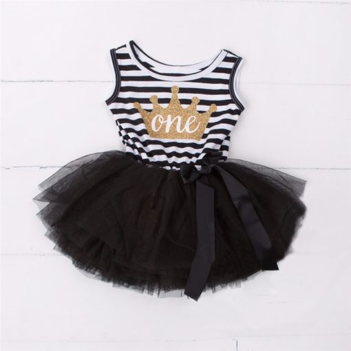 Itty Bitty Black & White 1st Birthday Crown Tutu Sleeveless Summer Dress