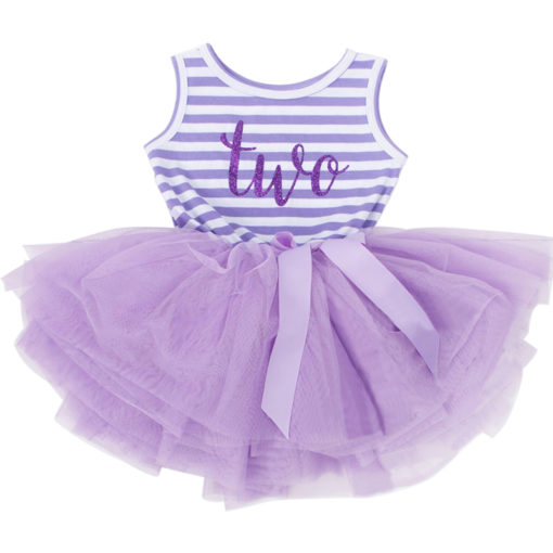 Itty Bitty Purple & White 2nd Birthday Tutu Sleeveless Summer Dress