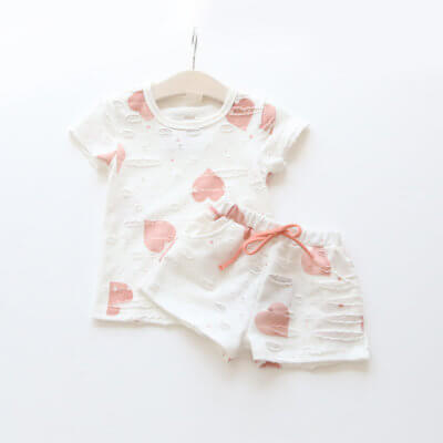 Itty Bitty Pink Hearts Summer Kids Clothing Print t-shirt + Shorts Set