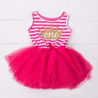Itty Bitty Dark Pink & White 1st Birthday Crown Tutu Sleeveless Summer Dress