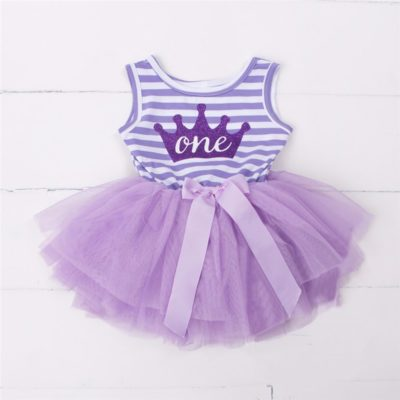 Itty Bitty Purple & White 1st Birthday Crown Tutu Sleeveless Summer Dress