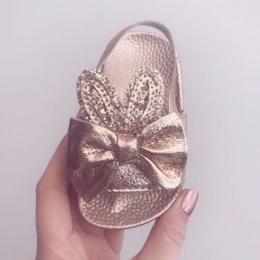 Itty Bitty Gold Bunny Sandals Sliders