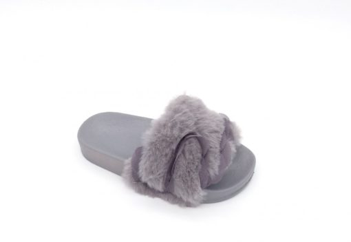 Itty Bitty Grey Fluffy Sandals Sliders