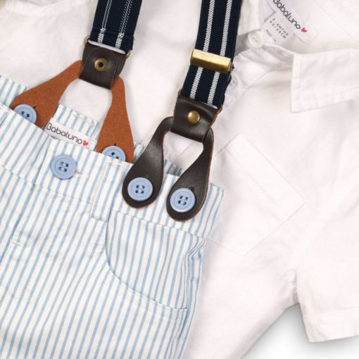 Itty Bitty Baby Boys Two Piece Poplin Shirt & Stripe Set