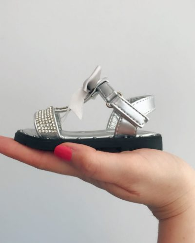 Itty Bitty Silver Diamante T Bar Bow Sandals