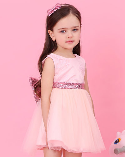 Girls Boutique Princess Pink Bow Dress