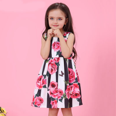 Girls Boutique Striped Princess English Rose Dress