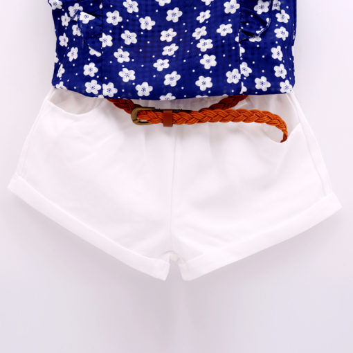 Girls Boutique blue summer flower top & shorts set