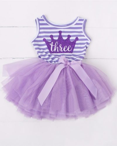 Itty Bitty Purple & White 3rd Birthday Tutu Sleeveless Summer Dress