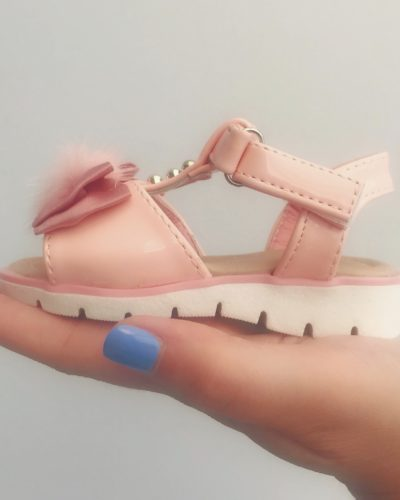 Itty Bitty Pink Bow Pom Pom Sandals
