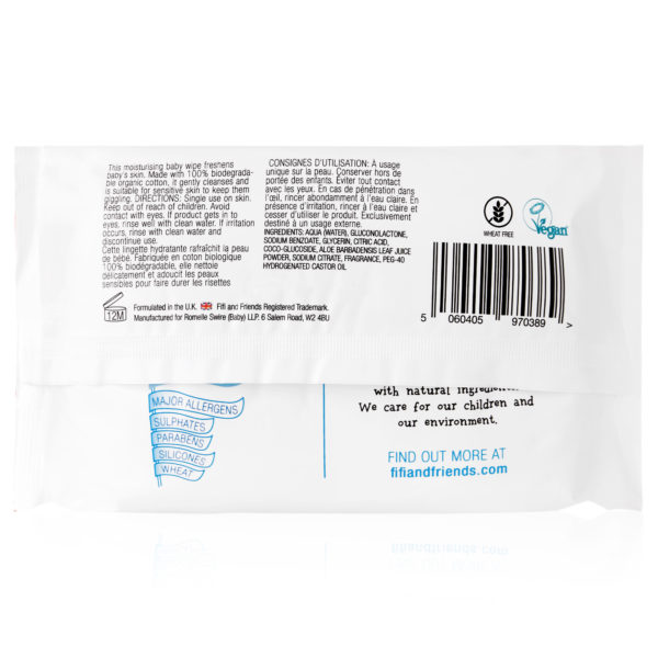 Fifi & Friends 100% Organic Travel Cleansing Wipes with Organic Aloe Vera - 72 Wipes