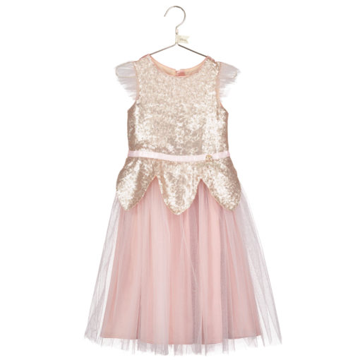 Disney Boutique Tinker Bell Rose gold sequin tulle dress & headband